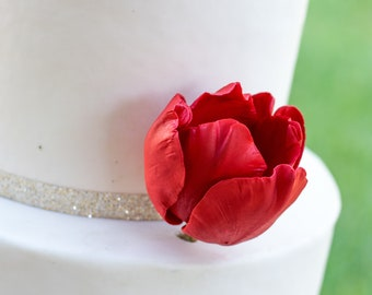 Red Tulip Sugar Flower cake topper
