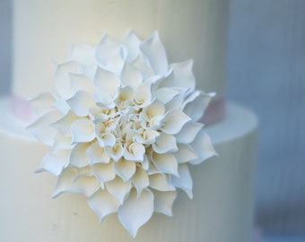 "White Dahlia 4"" Sugar Flower Wedding Cake Topper"