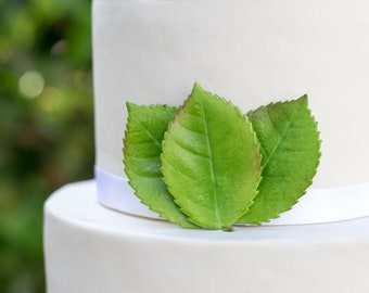 Large Rose Leaves - set of 3 Light Green Leaves for Gumpaste and Sugar Flower Cake Toppers