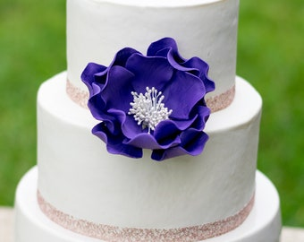 Purple Open Rose Sugar Flower Cake Topper - Ultraviolet Gumpaste Flower - Unique Birthday Cake Topper - Violet Sugar Flowers