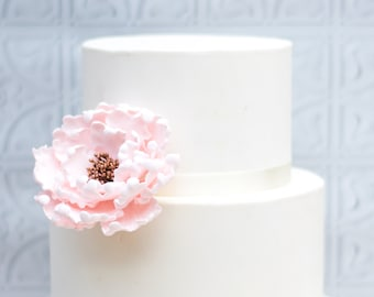 Blush and Rose Gold Peony Sugar Flower - Unique Wedding Cake Topper - Gumpaste Flowers