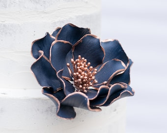Navy Open Rose with Rose Gold Edging Sugar Flower READY TO SHIP Wedding Cake Topper