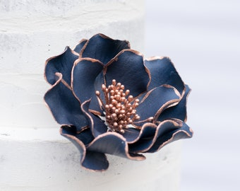 Navy Open Rose with Rose Gold Edging Sugar Flower Wedding Cake Topper