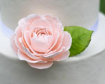 Blush Pink Garden Rose Rose Sugar Flower Wedding Cake Topper