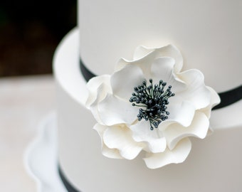 White and Black Open Rose Sugar Flower for wedding cake toppers READY TO SHIP