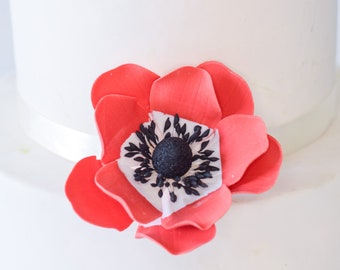 Red Anemone Sugar Flower - Wedding Cake Topper