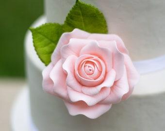 """Blush Rose 3"""" Sugar Flower Wedding Cake Topper"""