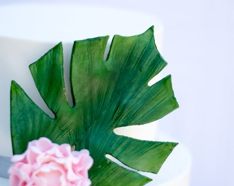 Dark Green Monstera Leaf for Sugar Flower Arrangements and Tropical Wedding Cake Toppers