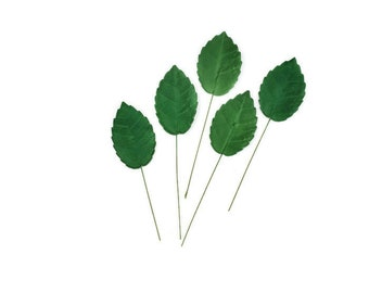 "Dark Green Rose Leaves, 1.5"" in height, set of 5, perfect for sugar flower arrangements, unique wedding cake toppers, gumpaste flower accent"