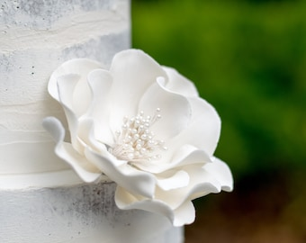 White Open Rose Sugar Flower - Unique Cake Topper for a Wedding or Baptism - Gumpaste Flower Decoration