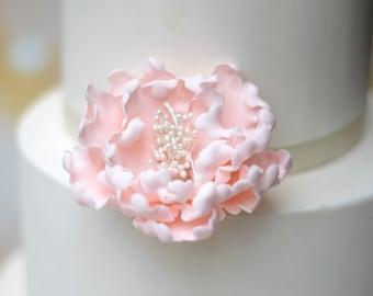 Blush Pink Peony Sugar Flower - Unique Wedding Cake Topper - Gumpaste Flowers