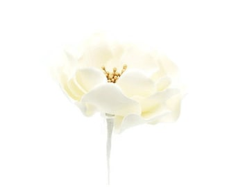 White and Gold Open Rose Sugar Flower READY TO SHIP wedding cake topper and gumpaste cake decoration