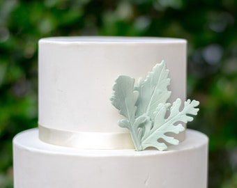6 Dusty Miller Leaves for Sugar Flower Arrangements and Wedding Cake Toppers