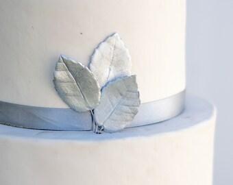 Metallic Silver Gumpaste Rose Leaves set of 3