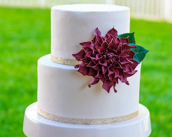 "Burgundy Dahlia Sugar Flower Large 4"" - Wedding Cake Topper"