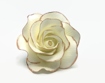 Small White Rose Sugar Flower with Rose Gold Edging, Gumpaste Rose for Modern Wedding Cake Toppers, Cake Decor, DIY Weddings