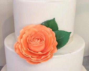 Orange Garden Rose Sugar Flower Wedding Cake Topper