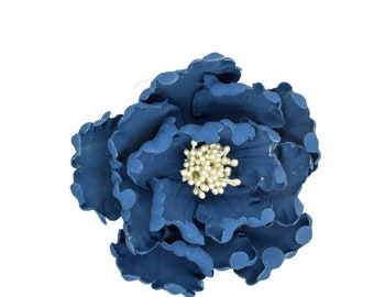 Navy and White Open Peony Gumpaste Flower Unique Wedding Cake Topper