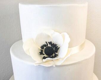 Ivory Anemone Sugar Flower wedding cake topper