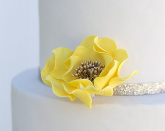 Yellow and Gold Open Rose Sugar Flower - Unique Wedding Cake Topper