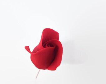 Red Rose Buds Set of 5 for sugar flower arrangements, fondant gumpaste flower wedding cake toppers, cake decorations, filler flowers