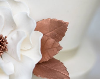 Metallic Gumpaste Rose Leaves Rose Gold set of 3 leaves