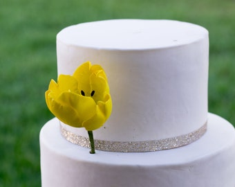 Yellow Tulip Sugar Flower cake topper
