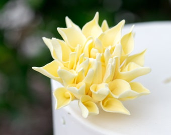 "Small 2"" Yellow Dahlia Sugar Flower Wedding Cake Topper"