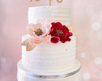 Valentine's Day Cake Topper - Blush & Red Open Rose Sugar Flowers with Gold Leaves