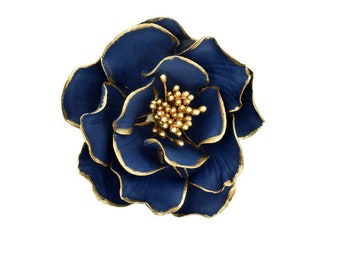 Navy and Gold Open Rose Sugar Flower with Gold Edging for wedding cake toppers, birthday decorations, bridal showers, gumpaste flowers