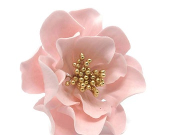 Open Rose Sugar Flower READY TO SHIP in Pink or Blush with Gold Center for gumpaste cake decoration and unique wedding cake toppers