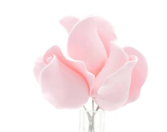 Blush Pink Rose Buds - set of 5 Sugar Flowers for Wedding Cake Topper