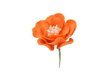 Orange Open Rose Sugar Flower, Birthday Cake Topper, Unique Gumpaste Flowers