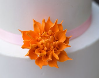"Small 2"" Bright Orange Dahlia Sugar Flower Wedding Cake Topper"