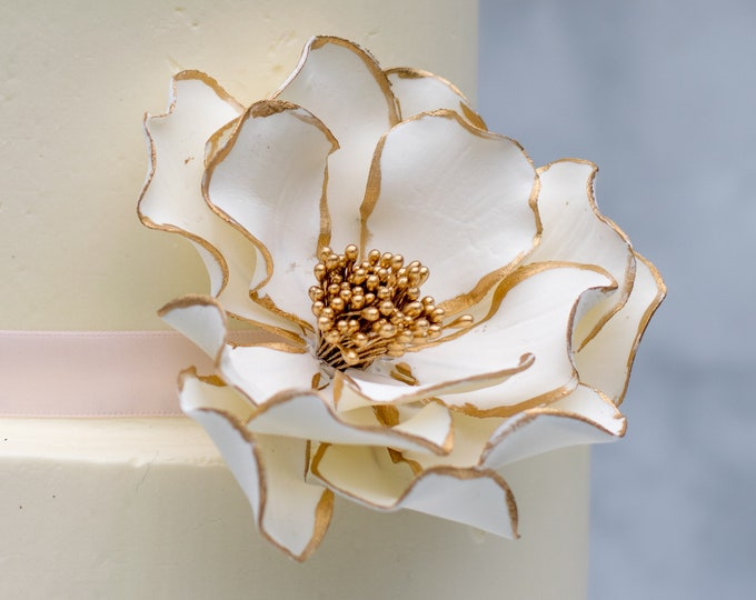 Featured listing image: White and Gold Open Rose Sugar Flower with Gold Edging for wedding cake toppers, birthday decorations, bridal showers, gumpaste flowers