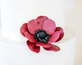Burgundy Anemone Sugar Flower wedding cake topper