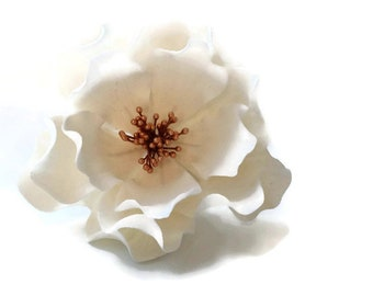 White and Rose Gold Open Rose Sugar Flower for wedding cake toppers, birthday decorations, bridal showers, gumpaste flower bouquets