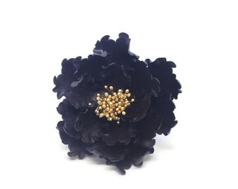 Black and Gold Open Peony Sugar Flower Unique Cake Topper Gumpaste Flowers Cake Decoration
