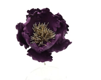 Plum Purple Open Peony Sugar Flower READY TO SHIP for wedding cake toppers and gumpaste decorations