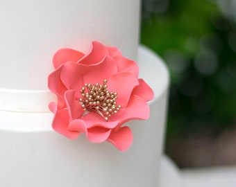 Open Rose Sugar Flower in Coral with Gold Center wedding cake topper