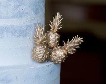 Gold Pineapple Cake Toppers - Gumpaste Pineapple, Tropical Sugar Flower Arrangement Decorations, Modern Wedding Cakes