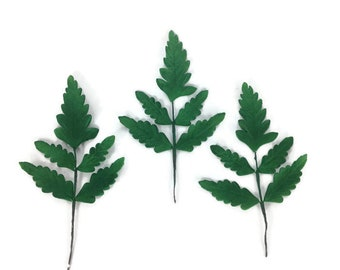Set of 3 Gumpaste Fern Leaves - Christmas Cake Topper - Wedding Cake Topper - Holiday Cake Decoration - Sugar Flower Arrangements