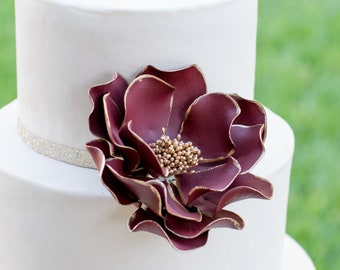 Burgundy and Gold Open Rose Sugar Flower with Gold Edging wedding cake topper