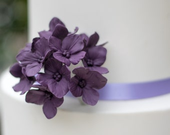 12 Hydrangea Gumpaste Sugar Flowers in Purple for Wedding and Bridal Shower Cake Topper, DIY brides, sugar flower arrangement, filler flower