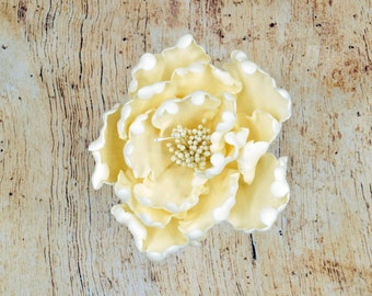 Ivory Peony Sugar Flower - Unique Wedding Cake Topper - Gumpaste Flowers - Stamens in gold, silver, rose gold, white, black, or yellow