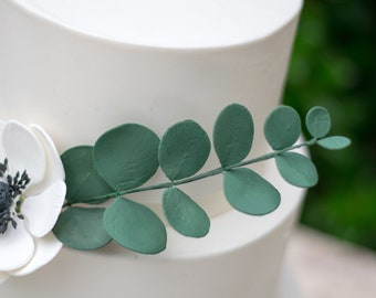 Eucalyptus Leaves Gumpaste Spray Wedding Cake Topper, Dark green eucalyptus for sugar flower arrangements, READY TO SHIP