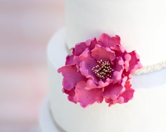 Pink and Gold Sugar Flower - Unique Wedding Cake Topper