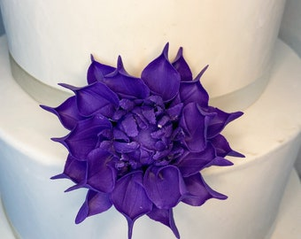 "Small 2"" Bright Dahlia Sugar Flower Wedding Cake Topper"