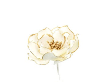 White and Gold Open Rose Sugar Flower with Gold Edging Ready To Ship