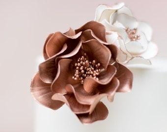 Rose Gold Open Rose gumpaste flowers cake topper, sugar flowers, modern wedding cake topper, rose gold cake topper